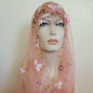 Sebrina Love / Sebrina Love Bridals Accessories - Blush Gold Lace Gatsby 20's Veil Headpiece Set